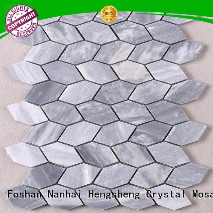Heng Xing white marble glass mosaic tile design for living room