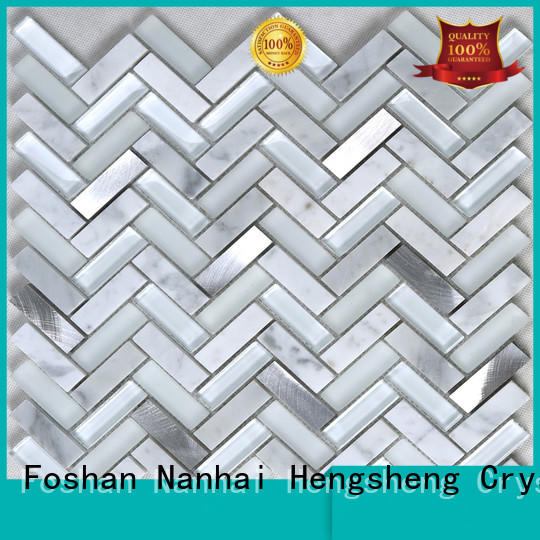 Heng Xing 3x3 white glass tile factory price for hotel