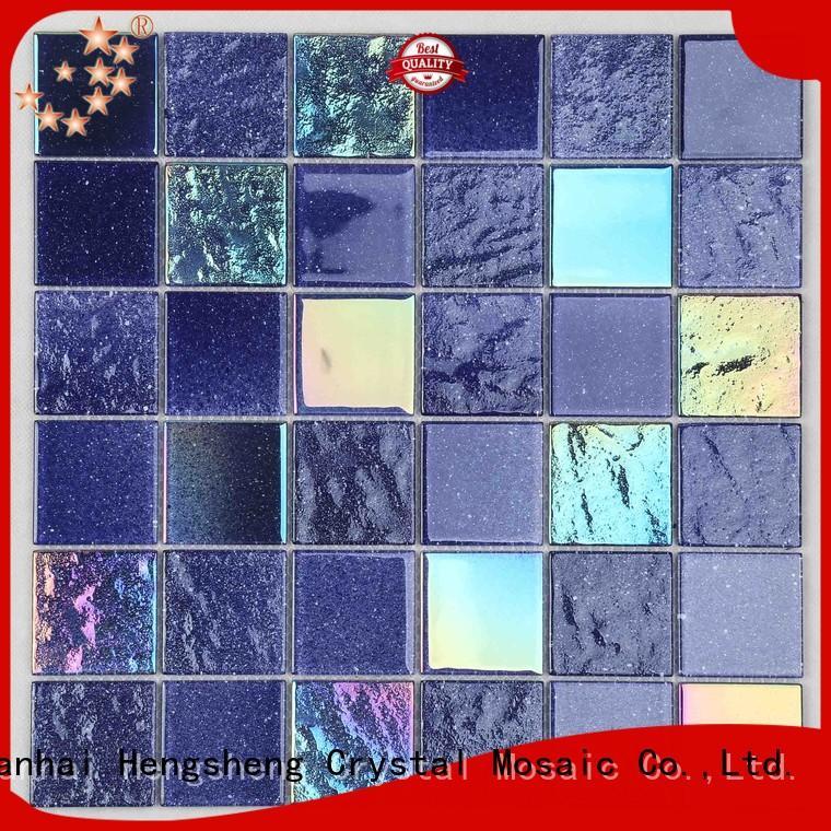 blue glass mosaic tile floor for bathroom Heng Xing